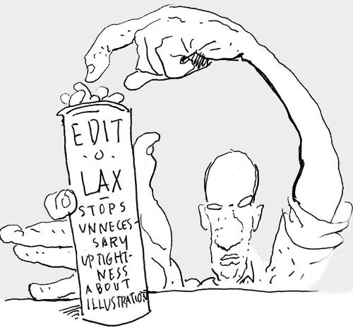 Edit-O-Lax, drawing by Steve Brodner